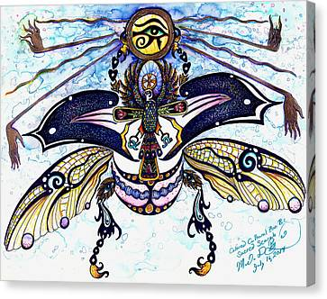Colored Cultural Zoo B Sacred Scarab Canvas Print by Melinda Dare Benfield