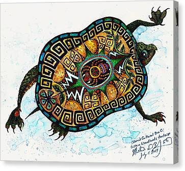 Colored Cultural Zoo C Eastern Woodlands Tortoise Canvas Print