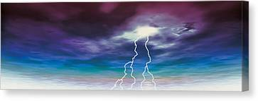 Colored Stormy Sky W Angry Lightning Canvas Print by Panoramic Images