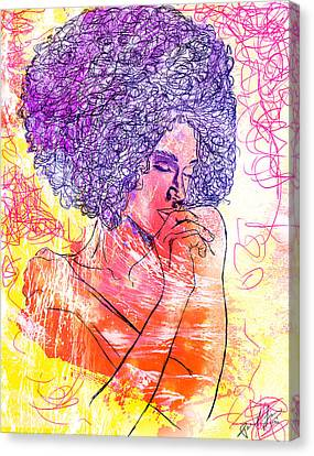 Colored Woman Canvas Print by Kenal Louis