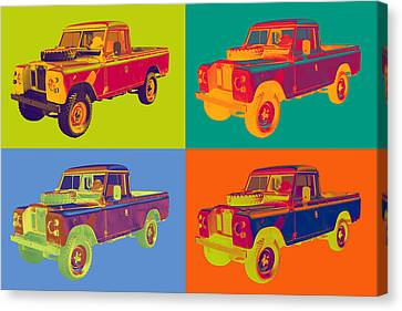 Colorful 1971 Land Rover Pick Up Truck Pop Art Canvas Print