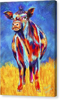 Colorful Angus Cow Canvas Print by Michelle Wrighton