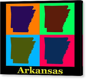 Colorful Arkansas State Pop Art Map Canvas Print by Keith Webber Jr