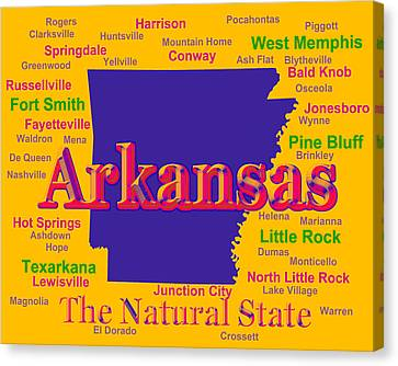 Colorful Arkansas State Pride Map Silhouette  Canvas Print by Keith Webber Jr