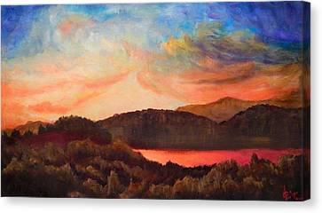 Colorful Autumn Sunset Canvas Print by Lilia D
