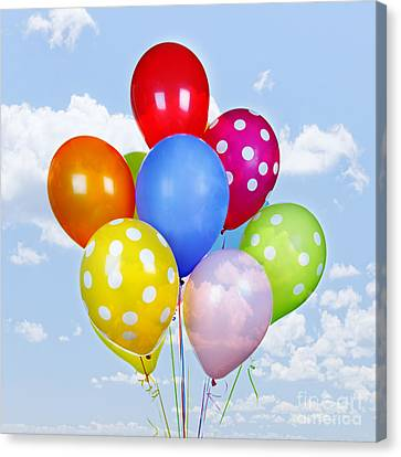 Colorful Balloons With Blue Sky Canvas Print by Elena Elisseeva