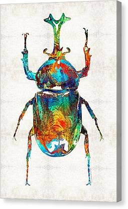 Beetle Canvas Print - Colorful Beetle Art - Scarab Beauty - By Sharon Cummings by Sharon Cummings