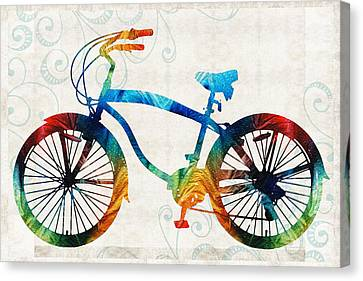 Primary Colors Canvas Print - Colorful Bike Art - Free Spirit - By Sharon Cummings by Sharon Cummings