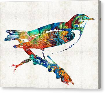 Finch Canvas Print - Colorful Bird Art - Sweet Song - By Sharon Cummings by Sharon Cummings