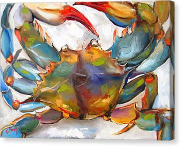 Blue Claw Crab Canvas Print - Colorful Blue by Carole Foret