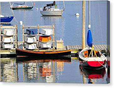 Colorful Boats Rockland Maine Canvas Print by Marianne Campolongo