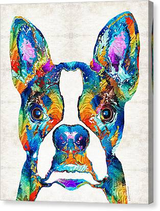 Colorful Boston Terrier Dog Pop Art - Sharon Cummings Canvas Print by Sharon Cummings