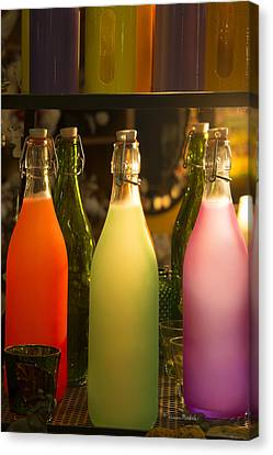 Colorful Bottles Closeup Canvas Print