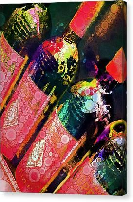 Merlot Canvas Print - Colorful Bottles by Cindy Edwards