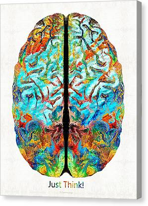 Colorful Brain Art - Just Think - By Sharon Cummings Canvas Print by Sharon Cummings