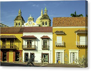 Cartagena Canvas Print - Colorful Buildings And Church Domes by Jerry Ginsberg
