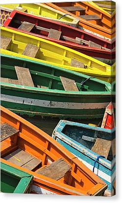 Colorful Canoes, Manila, Philippines Canvas Print by Keren Su