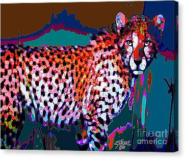 Canvas Print featuring the painting Colorful Cheetah by Elinor Mavor