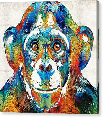 Chimpanzee Canvas Print - Colorful Chimp Art - Monkey Business - By Sharon Cummings by Sharon Cummings