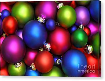 Colorful Christmas Ornaments Canvas Print by Pattie Calfy