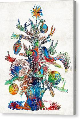 Christmas Tree Canvas Print - Colorful Christmas Tree Art By Sharon Cummings by Sharon Cummings