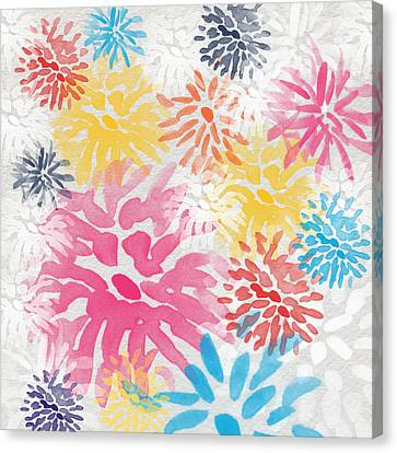 Navy Canvas Print - Colorful Chrysanthemums- Abstract Floral Painting by Linda Woods