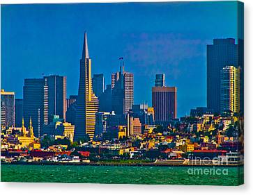 Colorful City By The Bay Canvas Print by Mitch Shindelbower