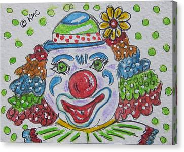 Colorful Clown Canvas Print by Kathy Marrs Chandler