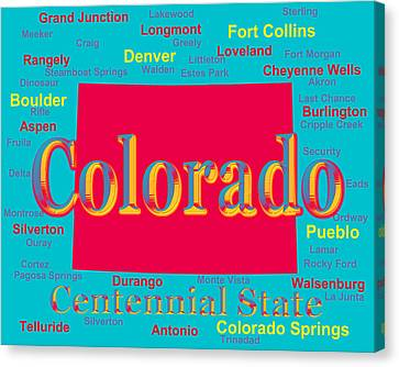 Colorful Colorado State Pride Map Silhouette  Canvas Print by Keith Webber Jr