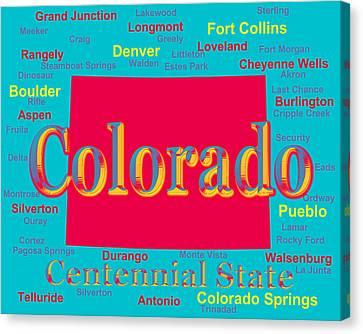 Colorful Colorado State Pride Map Silhouette  Canvas Print