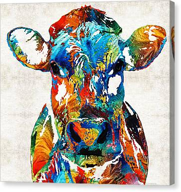 Pop Canvas Print - Colorful Cow Art - Mootown - By Sharon Cummings by Sharon Cummings