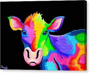 Colorful Cow-cow-a-bunga Canvas Print by Nick Gustafson