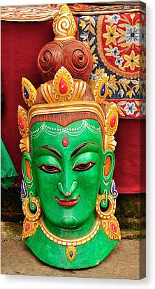 Colorful Cultural Masks Made Of Papier Canvas Print by Jaina Mishra