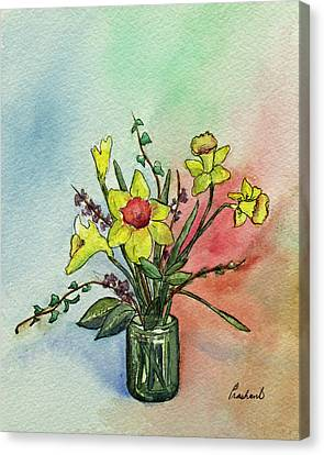 Colorful Daffodil Flowers In A Vase Canvas Print by Prashant Shah