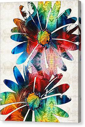 Colorful Daisy Art - Hip Daisies - By Sharon Cummings Canvas Print