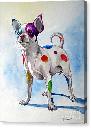 Colorful Dalmatian Chihuahua Canvas Print by Christopher Shellhammer