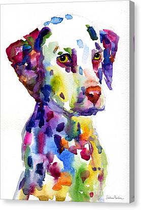 Watercolor Pet Portraits Canvas Print - Colorful Dalmatian Puppy Dog Portrait Art by Svetlana Novikova