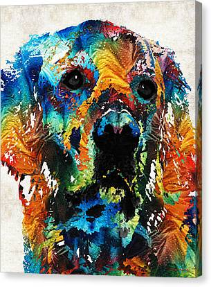 Chocolate Canvas Print - Colorful Dog Art - Heart And Soul - By Sharon Cummings by Sharon Cummings