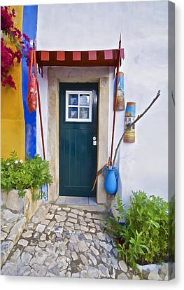 Colorful Door Of Obidos Canvas Print by David Letts