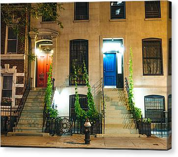 Brownstone Canvas Print - Colorful Doors At Night - New York City by Vivienne Gucwa