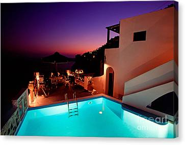 Colorful Dusk In Santorini Canvas Print by Aiolos Greek Collections