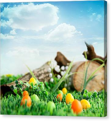 Colorful Easter Eggs Canvas Print by Mythja  Photography