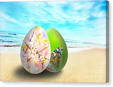 Colorful Easter Eggs On Sunny Beach Canvas Print by Michal Bednarek