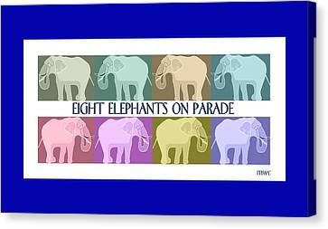 Colorful Elephants Canvas Print by Marian Cates