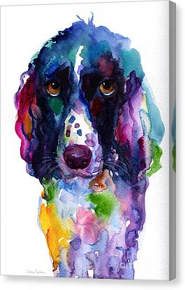 Colorful English Springer Setter Spaniel Dog Portrait Art Canvas Print