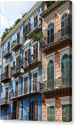 Colorful Facades In The City Of Palermo Canvas Print by Silvia Di Falco