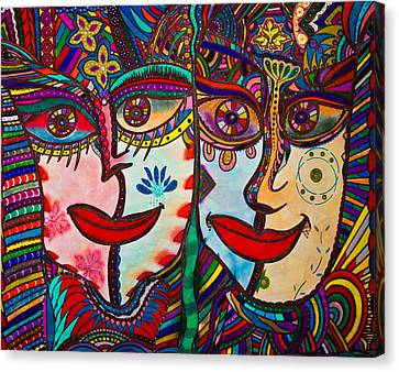 Colorful Faces Gazing - Ink Abstract Faces Canvas Print