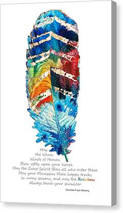 Of Color Canvas Print - Colorful Feather Art - Cherokee Blessing - By Sharon Cummings by Sharon Cummings