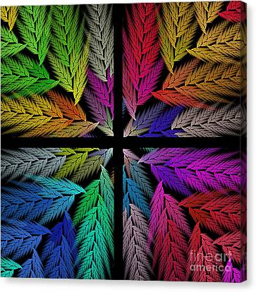 Colorful Feather Fern - 4 X 4 - Abstract - Fractal Art - Square Canvas Print by Andee Design