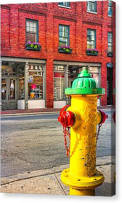 Colorful Fire Hydrant On The Streets Of Asheville Canvas Print by Mark E Tisdale